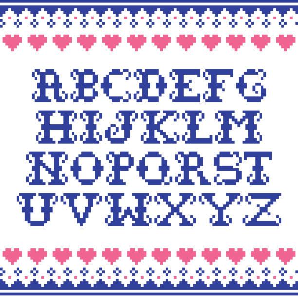 abecedario punto de cruz letras antiguas