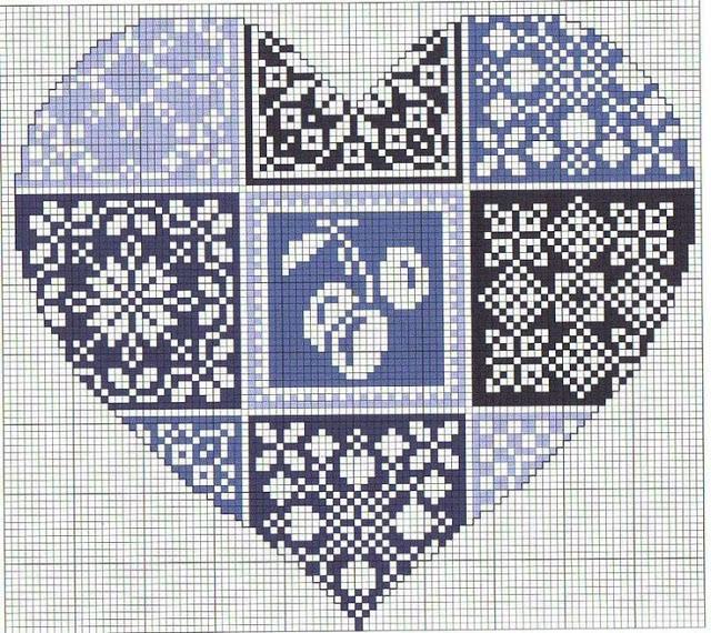 bordado corazon punto de cruz