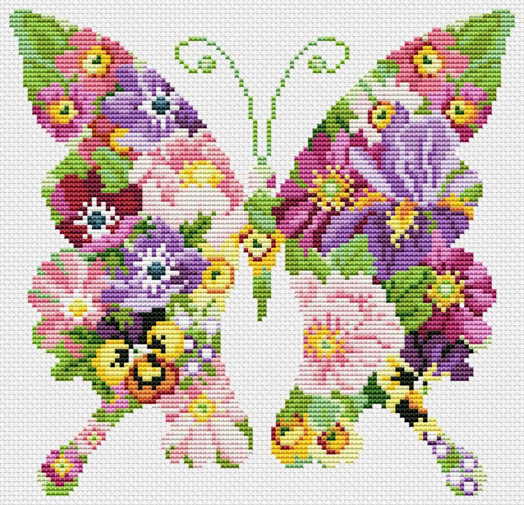 mariposas punto de cruz infantiles