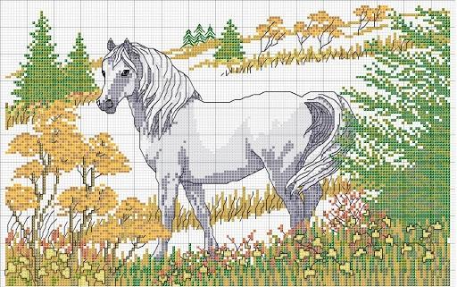 caballos pequeños en punto de cruz