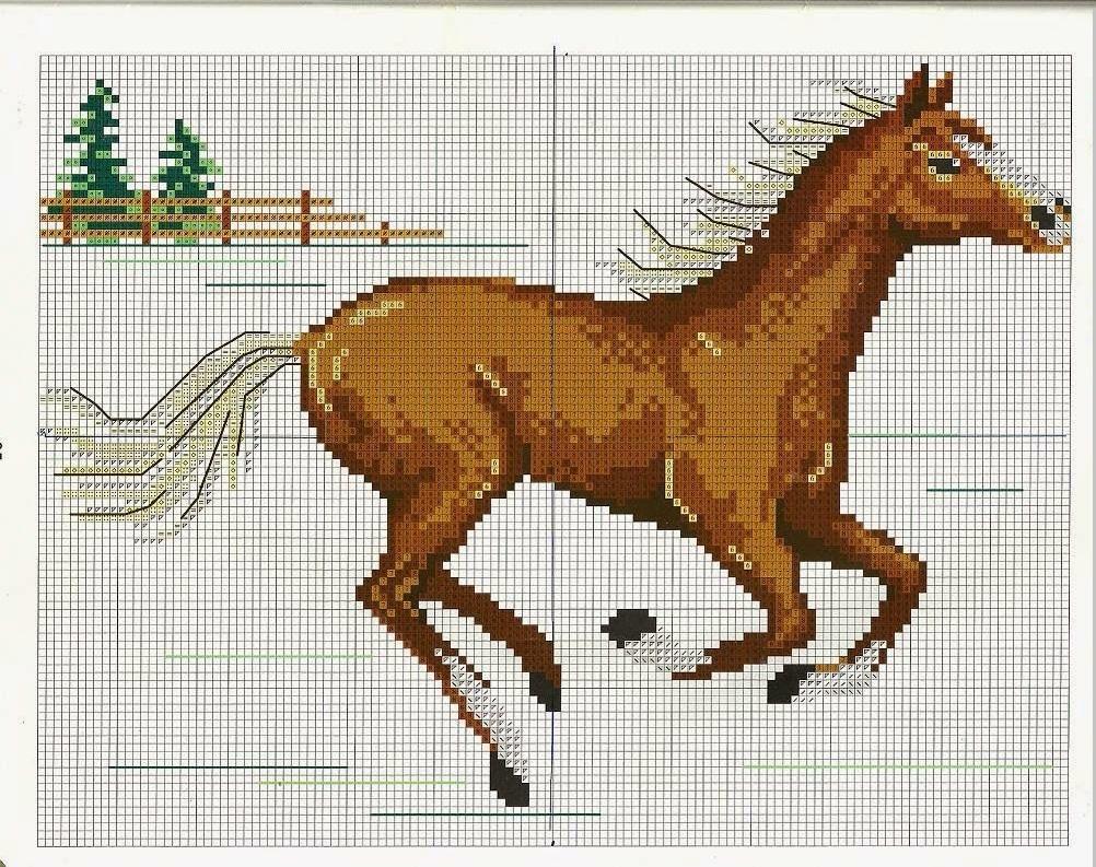 caballos en punto de cruz para toallas