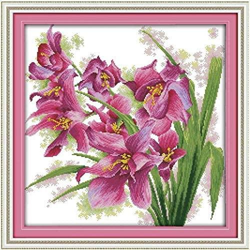 flores punto de cruz faciles