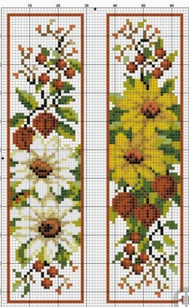 flores punto de cruz sencillas