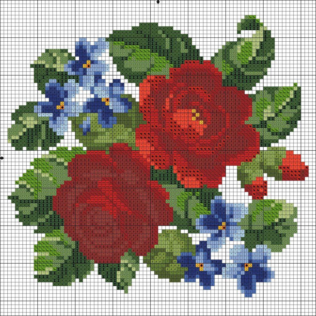 flores punto de cruz para blusas