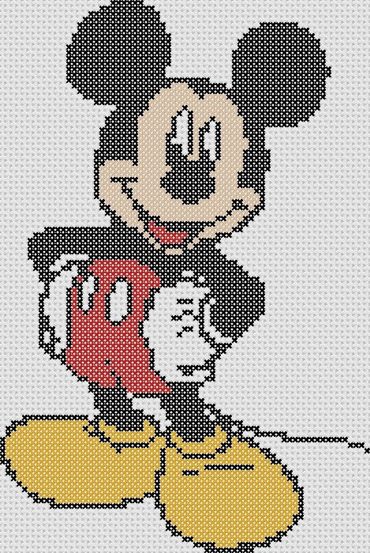 letras mickey mouse punto de cruz