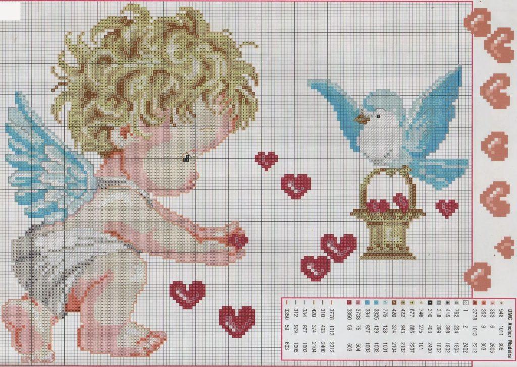 natalicios punto de cruz angeles