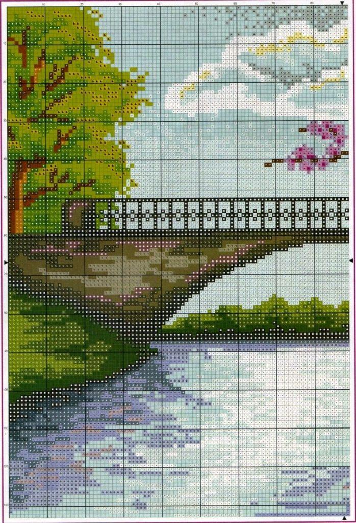 paisajes en punto de cruz para imprimir